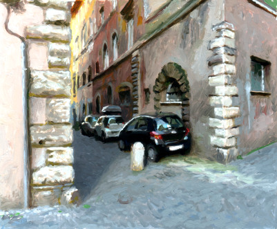 Cars in street, painting by Jan Maris