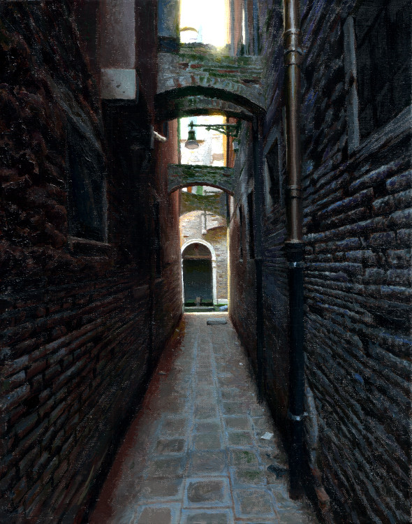 Alley with flying buttresses, painting by Jan Maris