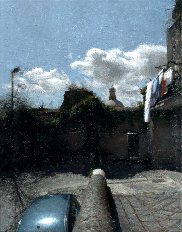 Blue Car, painting by Jan Maris