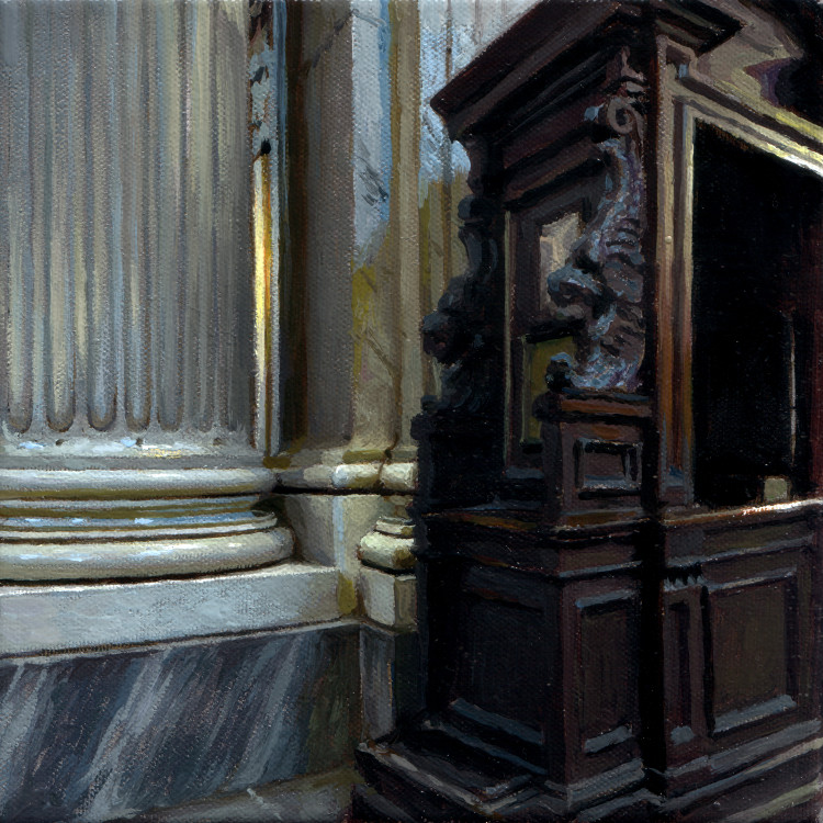Confession Booth and Column Base, painting by Jan Maris