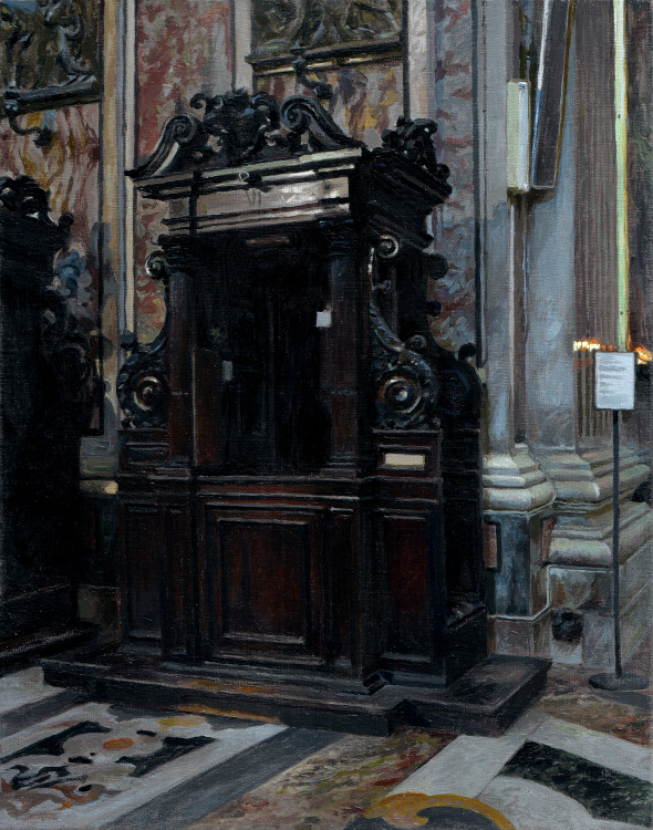 Confession Booth, painting by Jan Maris