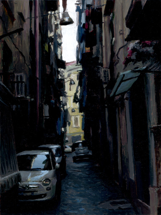 Street with cars, painting by Jan Maris