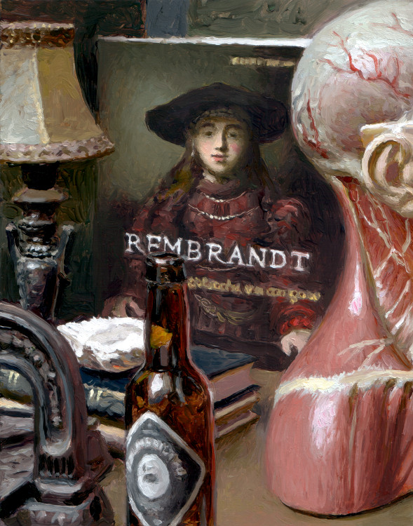 Beer Bottle, Rembrandt, painting by Jan Maris