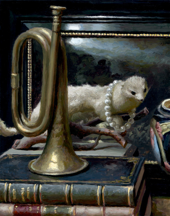 Weasel, trumpet, painting by Jan Maris