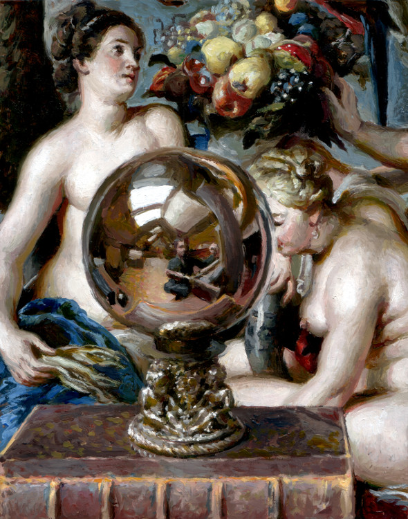 Mirror Sphere, painting by Jan Maris
