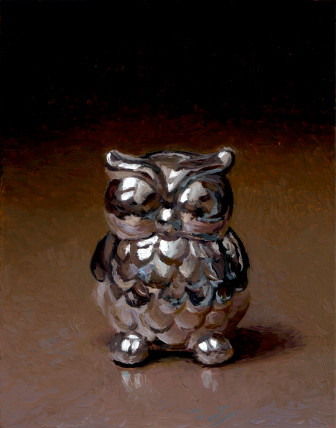 Chrome Ceramic Owl, painting by Jan Maris